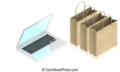 tasche, laptop, papier, shoppen