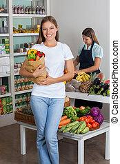 Tasche, lebensmittelgeschäft, frau, kaufmannsladen, Besitz
