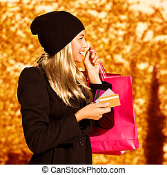 tasche, m�dchen, shoppen