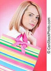 tasche, m�dchen, shoppen, blond