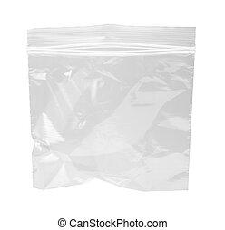tasche, resealable, plastik, freigestellt