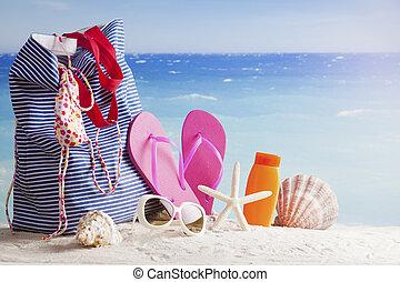 tasche, sandstrand, accessoirs