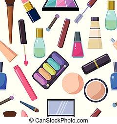 tasche, satz, auge, lippenstift, groß, kosmetisch, accessoirs, nagel, verschieden, wimperntusche, polnisch, spiegel, others., augenpaar, schatten