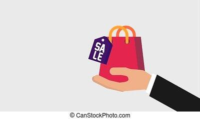 tasche, shoppen, halten hand