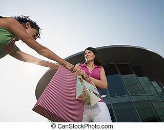 tasche, shoppen, kämpfen, frauen