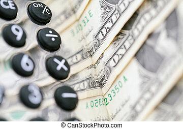 taschenrechner, aus, geld