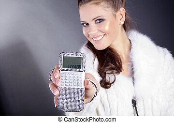 taschenrechner, frau, hübsch
