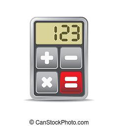 taschenrechner, -, freigestellt, abbildung, anwendung, ikone