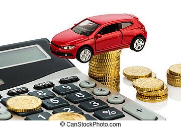 taschenrechner, kosten, auto.
