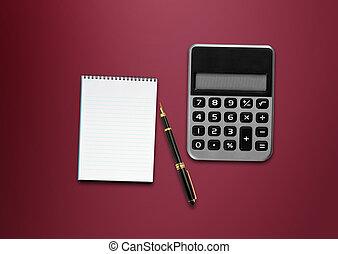 taschenrechner, papier, stift, tisch, leer