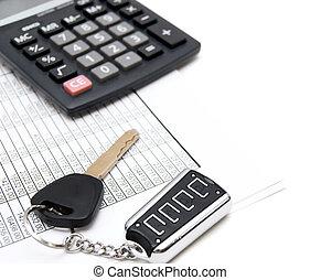 taschenrechner, schlüssel, von, der, auto, und, documents.