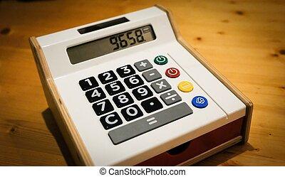 taschenrechner, spielzeug, textanzeige, registrierkasse