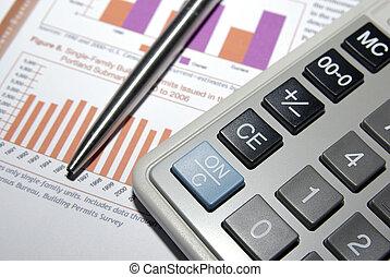 taschenrechner, stahl, kugelschreiber, finanzielle analyse, report.