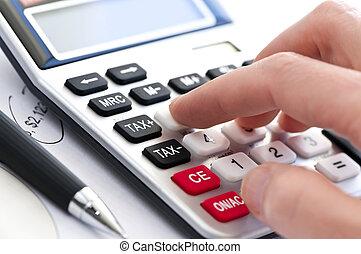 taschenrechner, steuer, stift