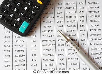 Taschenrechner, Tabelle, Stift