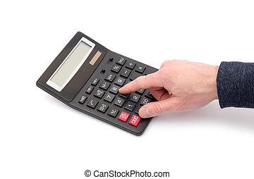 taschenrechner, weißes, hand