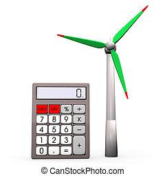 taschenrechner, windgeneratoren