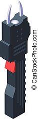 Taser icon. Isometric of taser vector icon for web design isolated on white background