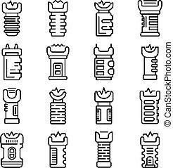 Taser icons set. Outline set of taser vector icons for web design isolated on white background
