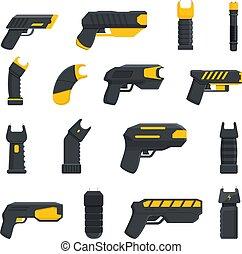 Taser police icons set. Cartoon set of taser police vector icons for web design