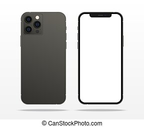 TASHKENT, UZBEKISTAN - NOVEMBER 7, 2020: Black iphone 12 pro mockup, Smartphone mock up with white screen, iphone, device mockup. New iPhone 12 is a smartphone developed by Apple Inc.