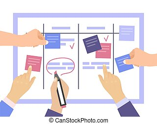 Task board concept with hands vector illustration. Work team planning weekly schedule project on task. Scheme whiteboard, schedule strategy process