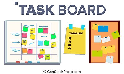 Task Board Set Vector. Sticker Notes. Scrum. Tasks For Team...