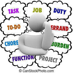 Task Job Chore To Do Stress Person Thinking Many Errands - A...