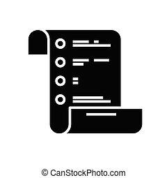 Task list black icon, concept illustration, vector flat symbol, glyph sign.