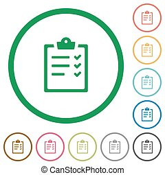 Task list outlined flat icons - Set of task list color round...