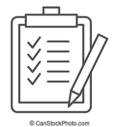Task list thin line icon. Clipboard vector illustration isolated on white. Checklist outline style design, designed for web and app. Eps 10.