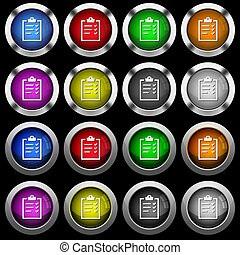 Task list white icons in round glossy buttons on black background