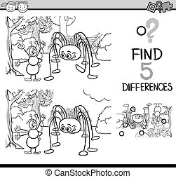 task of differences coloring book - Black and White Cartoon...