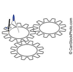 cogs with a compass