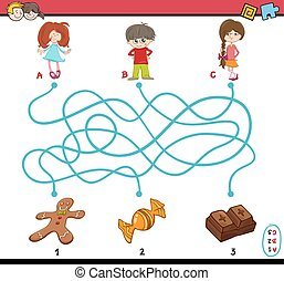 task of path maze for children