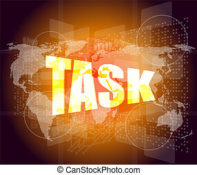 Task word on digital screen background with world map stock photos task word on digital screen background with world map gumiabroncs Choice Image