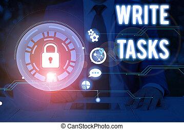 tasks., photo, dans, projection, travail, showcasing, certain, fini, note, écriture, morceau, être, assigné, time., souvent, business, écrire