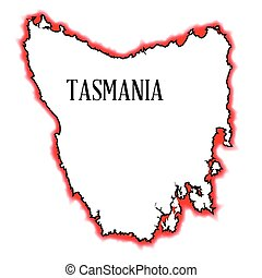 Tasmania - Outline map of Tasmania with red and black border...