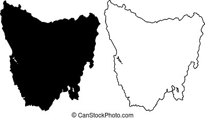 Tasmania map vector illustration, scribble sketch Tasmania
