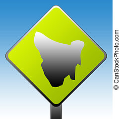 Tasmania Road Sign - Tasmania green diamond shaped road sign...