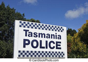tasmanian, 印, 警察