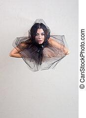 tassé, femme, tissu, maille, transparent