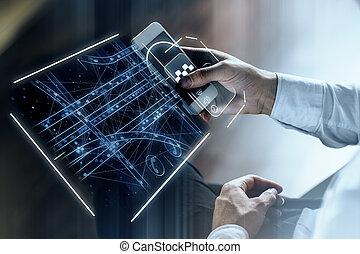 tassì, app, concetto, innovazione