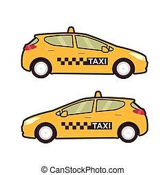tassì, automobile, icon., vettore, linea fissa, illustration., arte popolare, style.