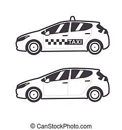 tassì, automobile, icon., vettore, linea fissa, illustration.