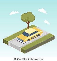 tassì, automobile, isometrico, vettore, strada