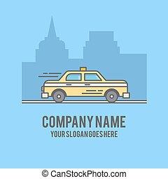 tassì, automobile, su, città, fondo, silhouette., linea fissa, disegnato, illustrazione
