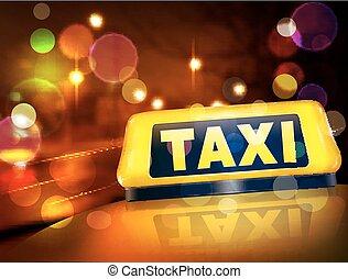 tassì, città, automobile, segno giallo, luci, vettore, contro, notte