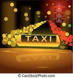 tassì, city., automobile, segno giallo, ardendo, tetto, notte