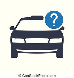 tassì, concetto, taxi, viaggiare, domanda, trasporto, icona, mark., icona